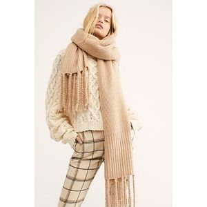 Free People Jaden Ribbed Fringe, Ivory, One Size